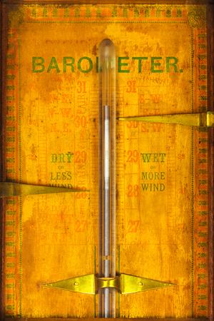 barometer: Close up of a weathered vintage barometer Stock Photo