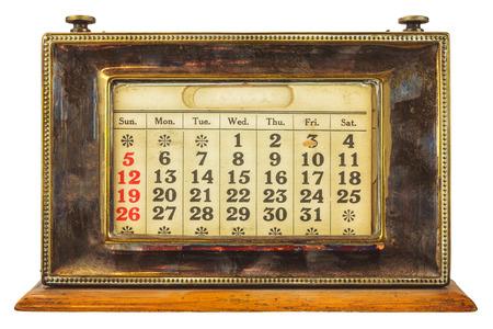 desktop calendar: Vintage desktop calendar isolated on a white background