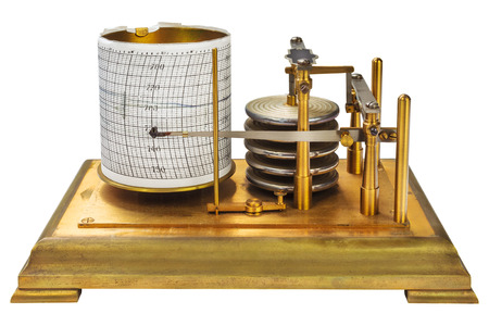 atmospheric pressure: Vintage barograph isolated on a white background