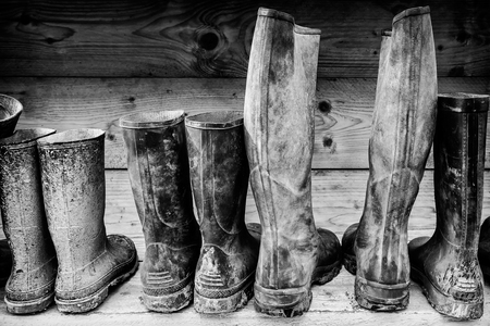 used: Row of muddy boots in front of a wooden wall