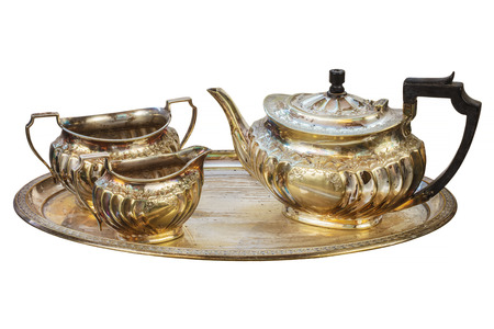 silver plated: Antique art deco silver tea set isolated on a white background Stock Photo