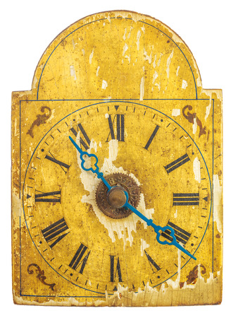 hands  hour: Genuine ornamental seventeenth century clock with blue hour and minute hands isolated on a white background