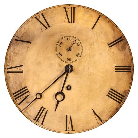Vintage weathered clock face isolated on a white background Stock Photo