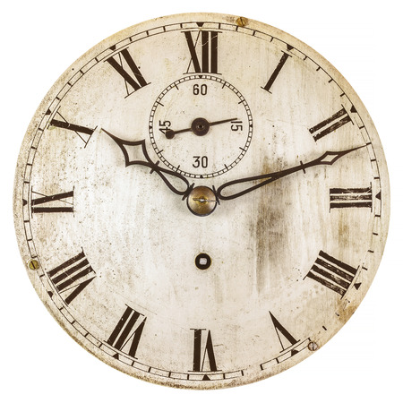 Sepia getönten Bild eines alten Gesicht Uhr auf einem weißen Hintergrund isoliert Standard-Bild - 62004699