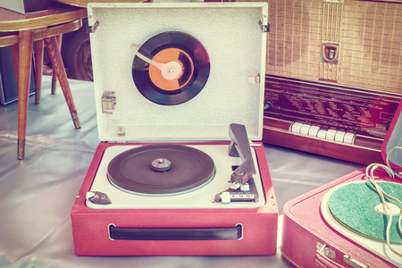 flee: Retro styled image of an old record player on a flee market