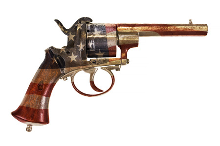 vintage gun: Ancient revolver with the American flag isolated on a white background Stock Photo