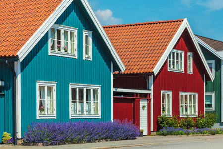 beach front: Ancient colorful wooden houses in the city of Karlskrona, Sweden