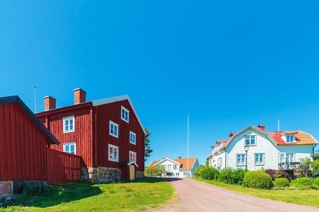 Old Swedish houses in summer in the village of Pataholm