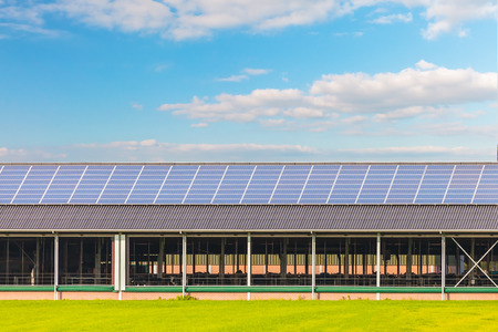 Solar panels on a new farm barn in The Netherlands Banco de Imagens