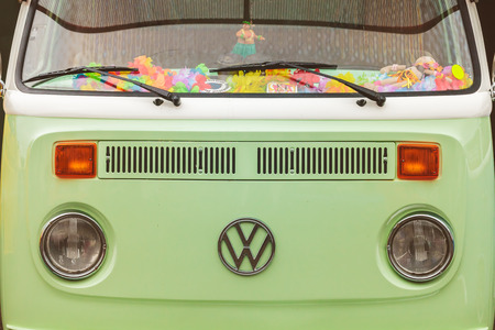 ROSMALEN, THE NETHERLANDS - JANUARY 8, 2017: Close up of the front of a vintage Volkswagen Transporter Bus in Rosmalen, The Netherlands Redactioneel