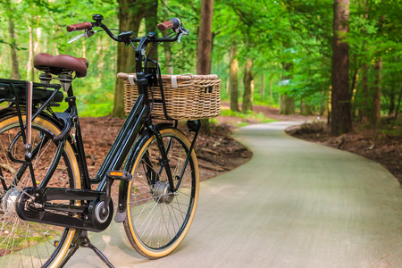 Electric black cargo bicycle with basket in Dutch national park The Veluwe, The Netherlands