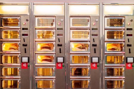 Bestelvenster met kroketbroodjes van een Nederlandse snackbar Stockfoto