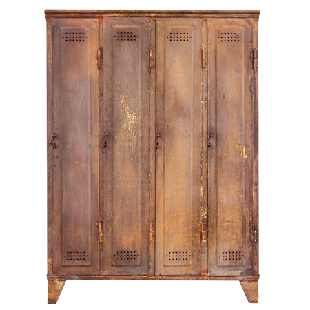Vintage rusted locker isolated on a white background Stock Photo