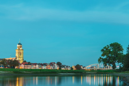 View at the Dutch city of Deventer in Overijssel with the river IJssel in front