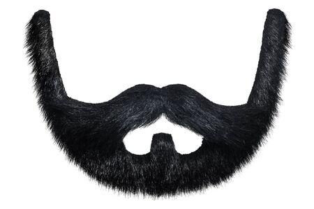 Barba negra con bigote rizado aislado sobre un fondo blanco. Foto de archivo