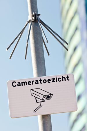 Urban security sign with the Dutch text 'Camera surveillance' in The Netherlands