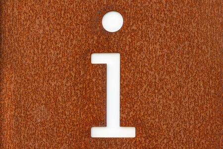 Rusted corten steel information sign with the character i in white Stok Fotoğraf