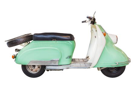 Retro duotone mint with white fifties scooter isolated on a white background Standard-Bild