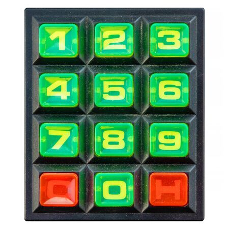 Vintage colorful keypad with green number buttons isolated on a white background