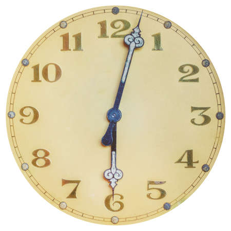 Ancient ornamental art deco clock face isolated on a white background 版權商用圖片