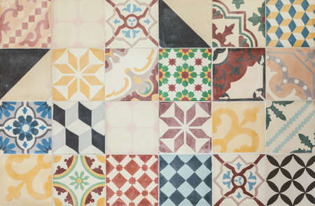 Colorful set of ancient ornamental tiles from Portugal 스톡 콘텐츠