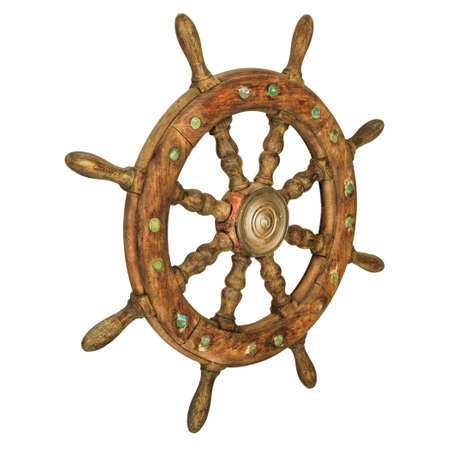 Vintage wooden ship steering wheel isolated on a white background