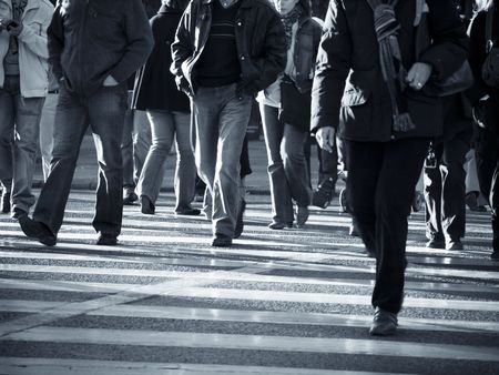 Urban scenes, Pedestrians crossing the street.