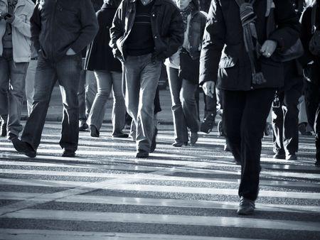 Urban scenes, Pedestrians crossing the street.