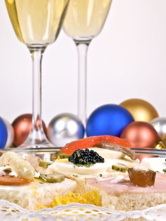 Appetizer with caviar, champagne and other delights