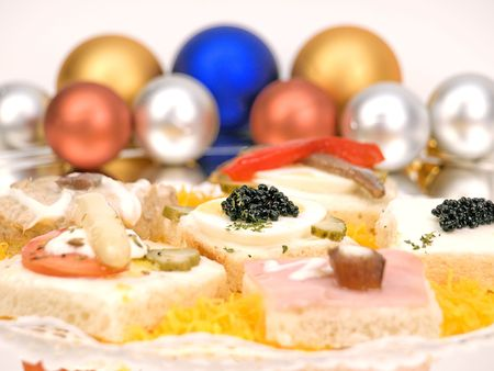 Appetizer with caviar, and other delights