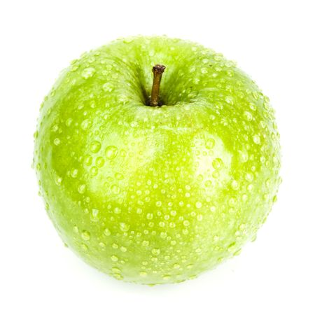 green apple with drops isolated.