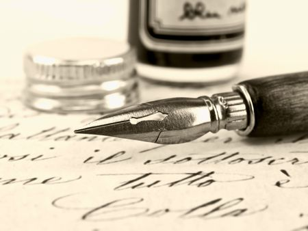Old pen and beautiful retro calligraphy. Stock Photo