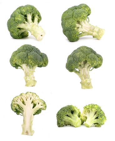 Broccoli isolated on white, different viewpoints. Stock Photo