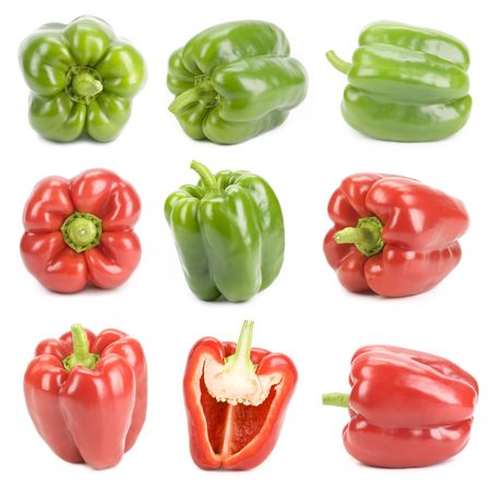 viewpoints: Peppers red and  green isolated on white, different viewpoints.
