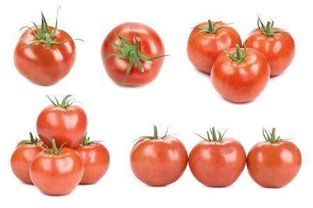 viewpoints: Tomatoes isolated on white, different viewpoints.