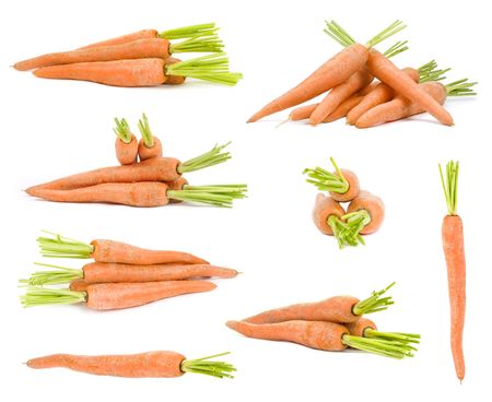 Carrots isolated on white , different viewpoints.