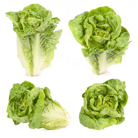viewpoints: Lettuce isolated on white, different viewpoints. Stock Photo
