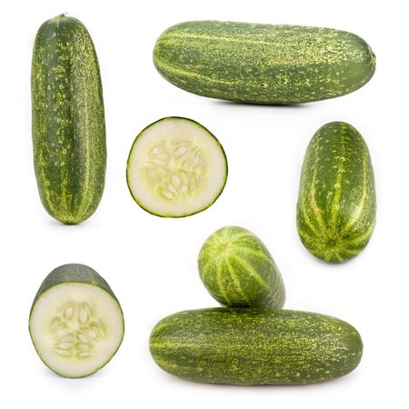 Cucumbers isolated on white , different viewpoints.