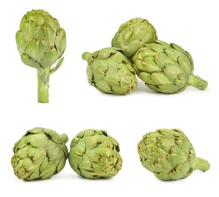 viewpoints: Artichokes isolated on white, different viewpoints.
