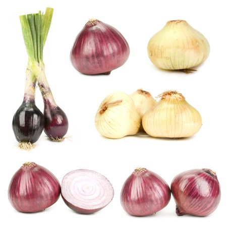 viewpoints: Onions isolated on white, different viewpoints.