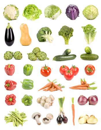 Large collection of isolated vegetables on white Stock Photo