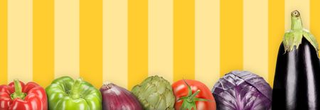 composition with vegetables on a yellow lines background (panoramic)