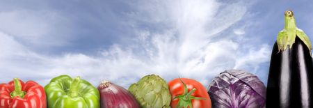 composition with vegetables on a sky background (panoramic)