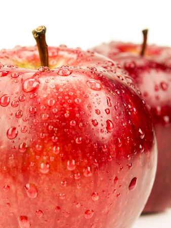 red apple  with drops Stock Photo