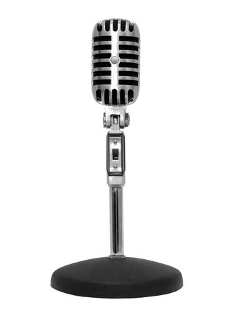Microphone retro silver, isolated on white . Stock Photo