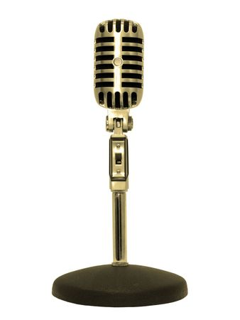 Microphone retro gold, isolated on white .