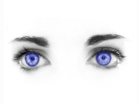 blue eyes isolated on a white background