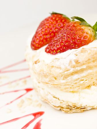 Cake of strawberries with cream and puff-pastry Stock Photo