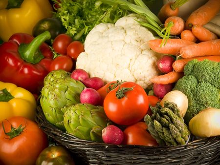 Selection of the most Popular vegetables. Stock Photo