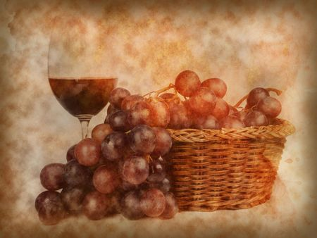 Glass of red wine and grapes on texture of old paper